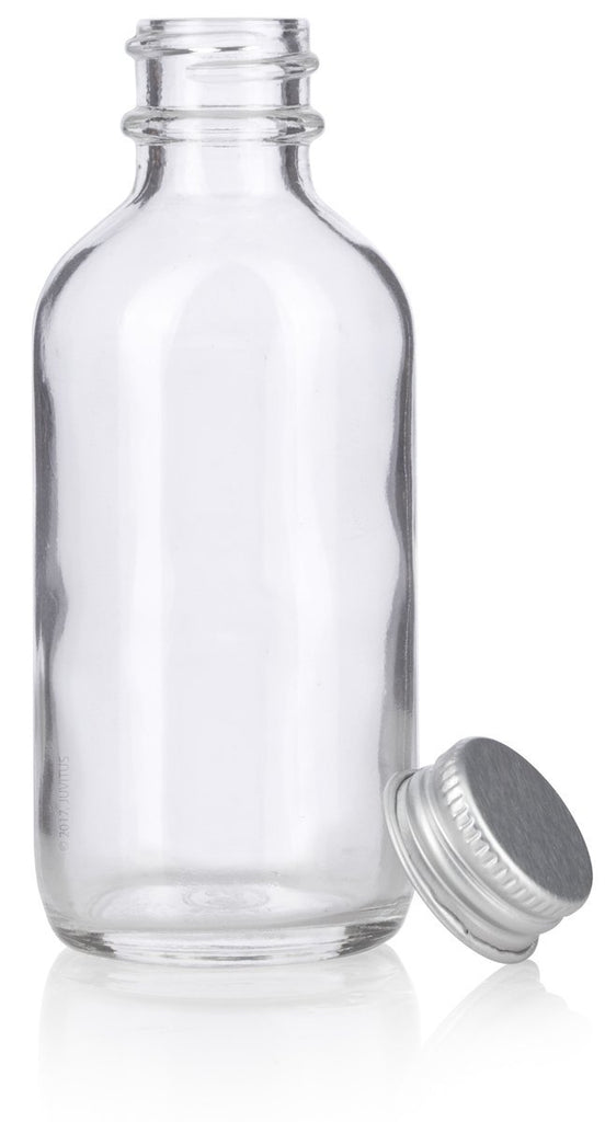 2 oz Clear Glass Boston Round Bottles with Silver Metal Screw On Caps + Funnel and Labels