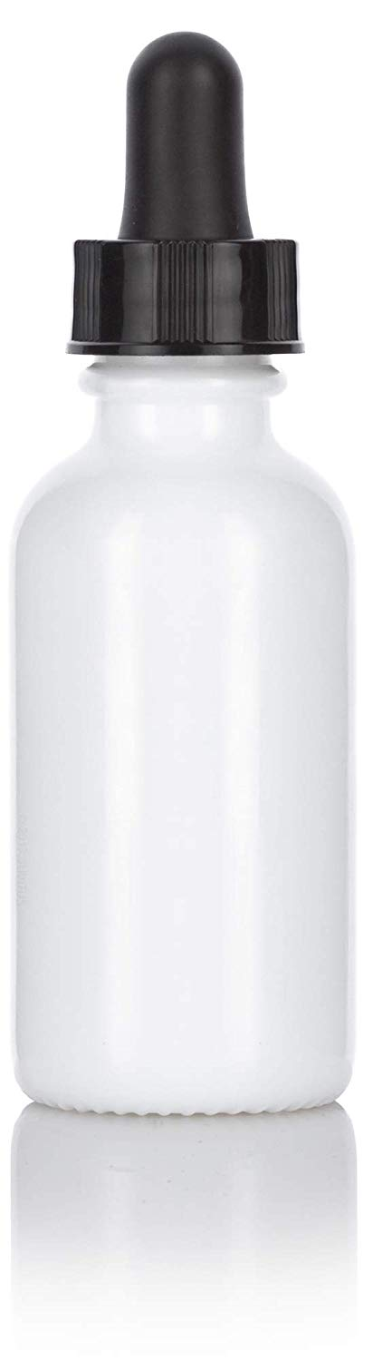 Opal White Glass Boston Round Dropper Bottle with Black Top - 1 oz / 30 ml
