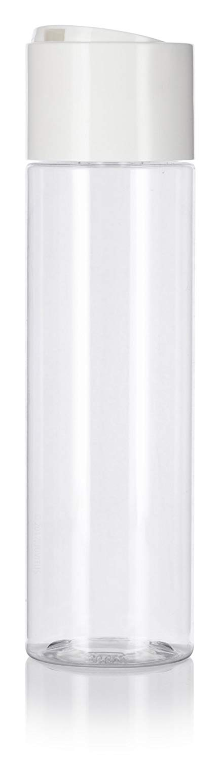 Clear Plastic Professional Cylinder Bottle with Wide White Disc Cap - 8 oz / 250 ml