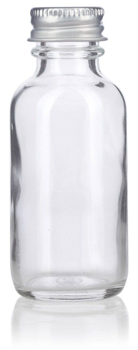 Glass Boston Round Bottle in Clear with Silver Metal Screw On Cap - 1 oz / 30 ml