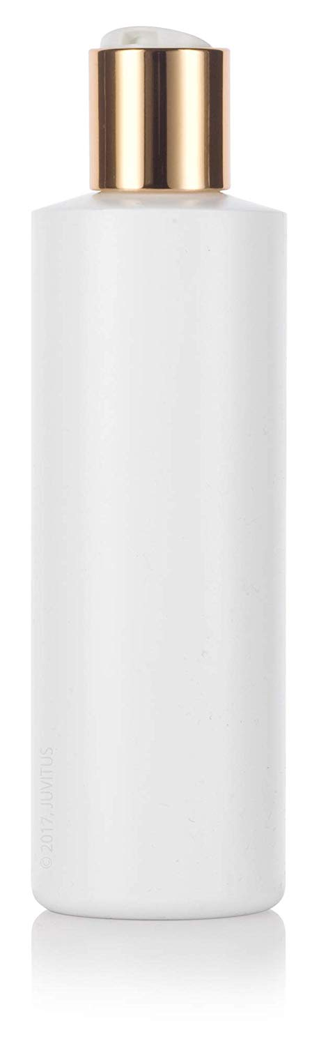 White Plastic Squeeze Cylinder Bottle with Gold Disc Cap - 8 oz / 250 ml