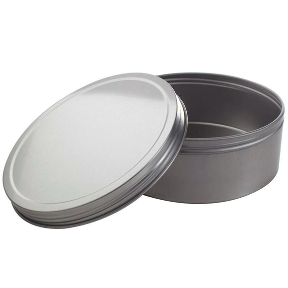 16 oz Silver Shallow Low Profile Metal Tin Containers with Screw Top Twist Lids