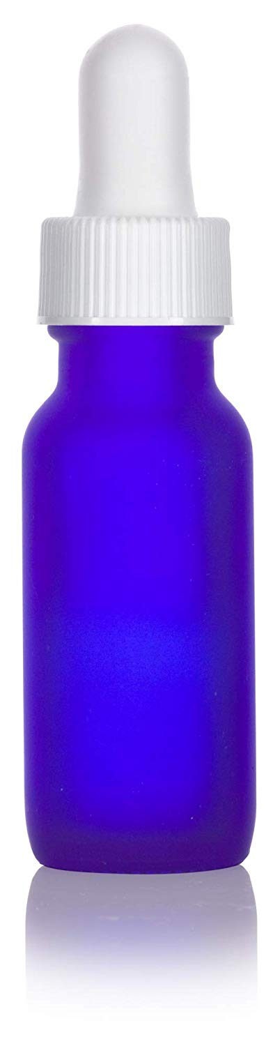 Frosted Cobalt Blue Glass Boston Round Dropper Bottle with White Top - .5 oz / 15 ml - JUVITUS