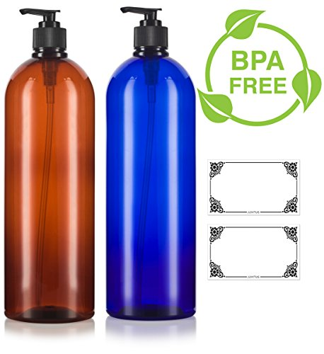 Amber and Cobalt Blue 32 oz Large Boston Round PET Bottles (BPA Free) with Black Lotion Pump Set -2 PACK + Labels