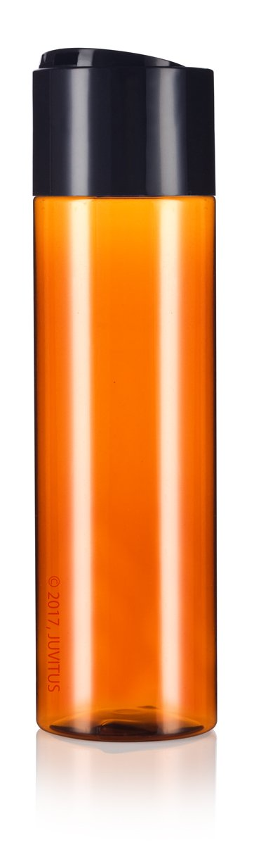 Amber Plastic Professional Cylinder Bottle with Wide Black Disc Cap - 8 oz / 250 ml
