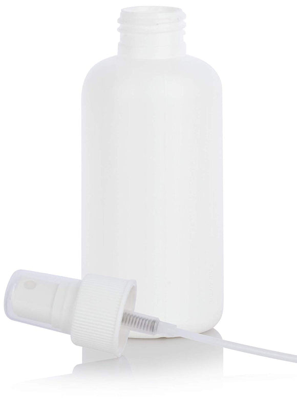 White HDPE Plastic Boston Round Bottle with White Fine Mist Sprayer - 4 oz / 120 ml