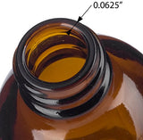 Amber Glass Boston Round Screw Bottle with Silver Metal Cap - 2 oz / 60 ml