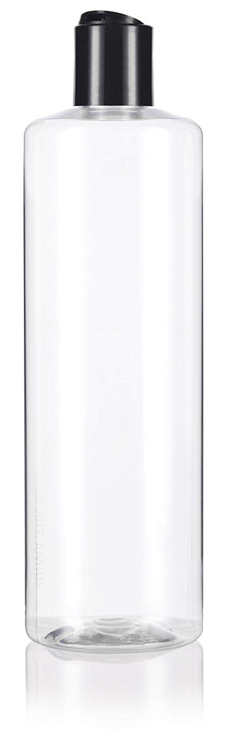 Clear Plastic Professional Cylinder Bottle with Black Disc Cap - 16 oz / 500 ml