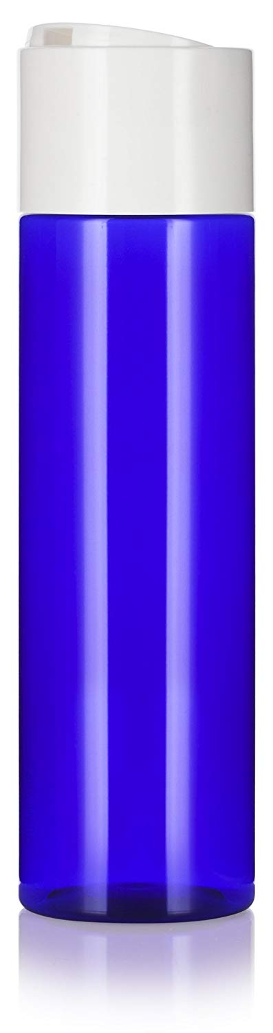 Cobalt Blue Plastic Professional Cylinder Bottle with Wide White Disc Cap - 8 oz / 250 ml