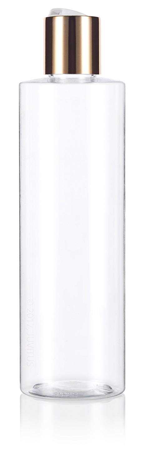 Clear Plastic Professional Cylinder Bottle with Gold Disc Cap - 8 oz / 250 ml