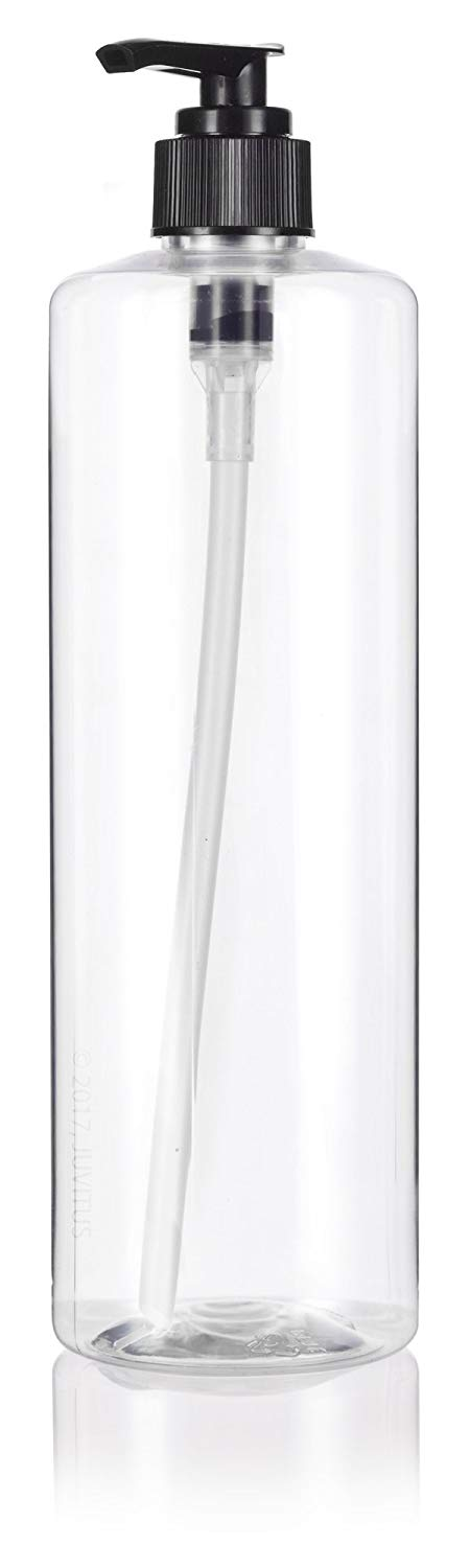 Plastic Professional Cylinder Bottle in Clear with Black Lotion Pump - 16 oz / 500 ml