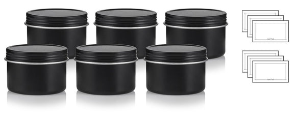 Black Metal Tin Steel Deep Refillable Container 2 oz with Tight Sealed Twist Screwtop Cover (6 pack) + Labels