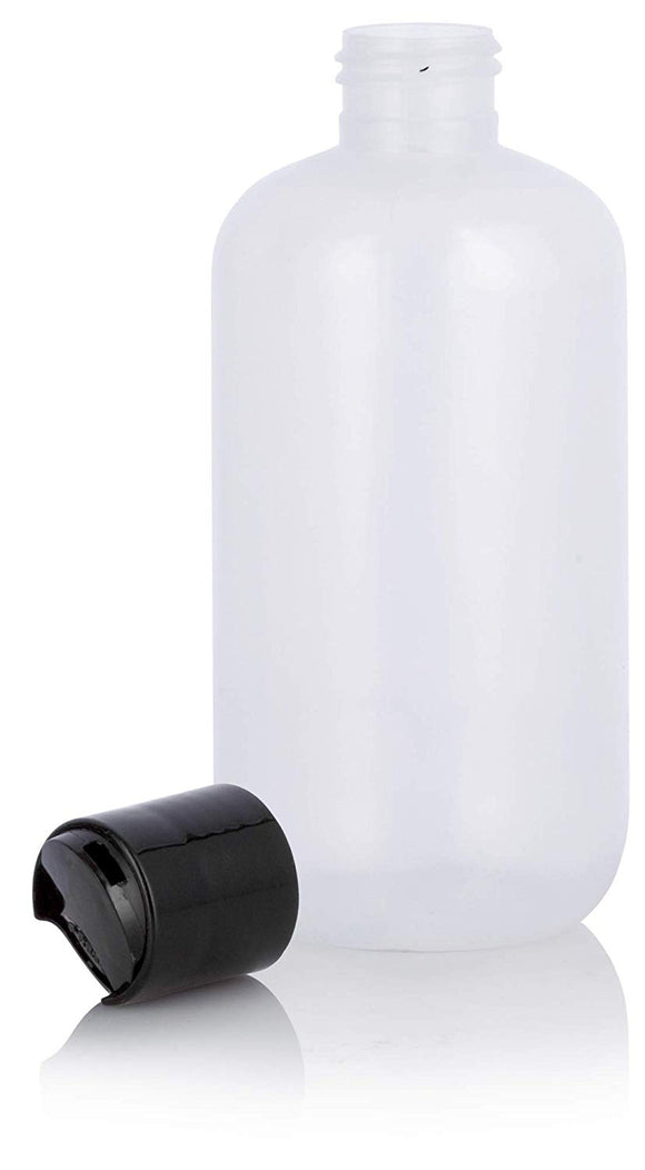 Clear LDPE Plastic Squeeze Cylinder Bottle with Black Disc Cap - 8 oz / 250 ml