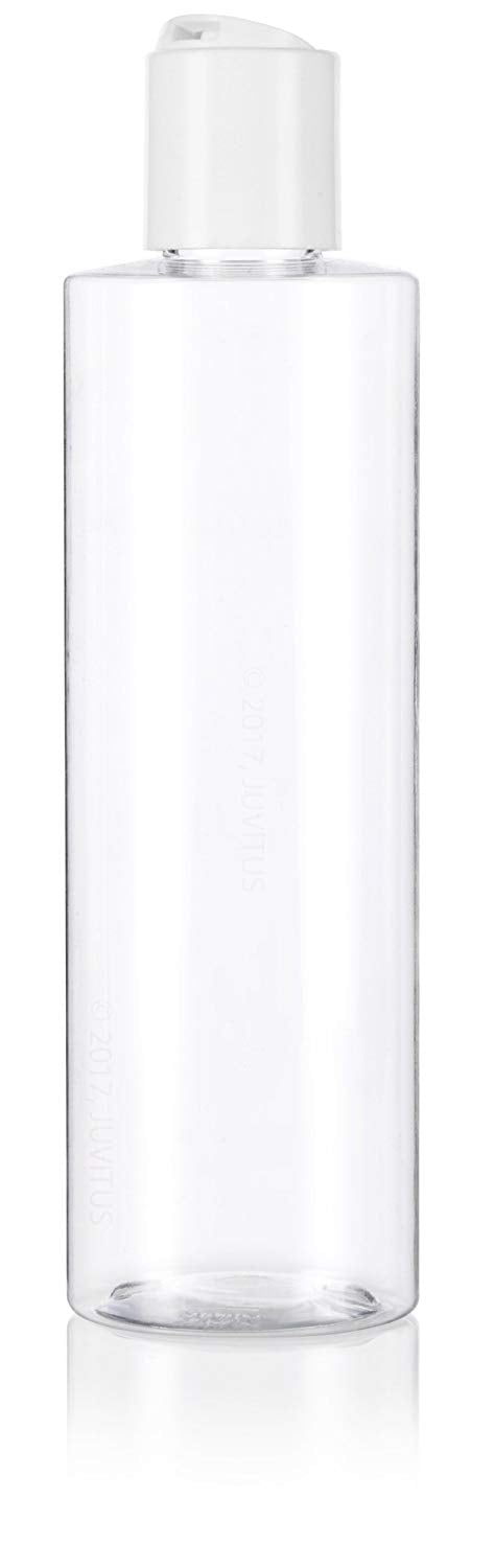 Clear Plastic Professional Cylinder Bottle with White Disc Cap - 8 oz / 250 ml