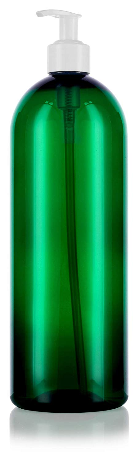 Green Plastic Slim Cosmo Bottle with White Lotion Pump - 32 oz / 950 ml
