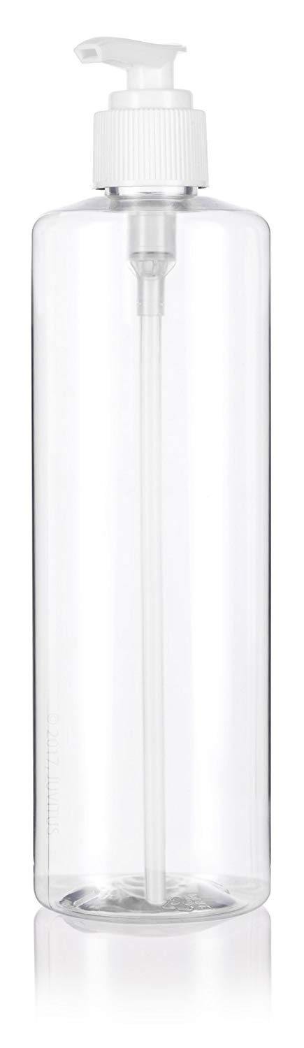 Clear Plastic Professional Cylinder Bottle with White Lotion Pump - 16 oz / 500 ml