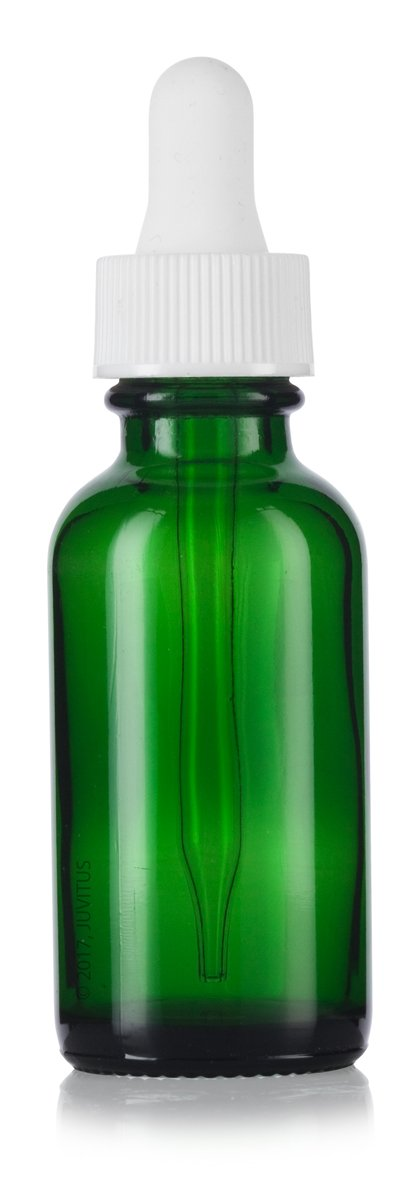 Green Glass Boston Round Dropper Bottle with White Top - 1 oz / 30 ml