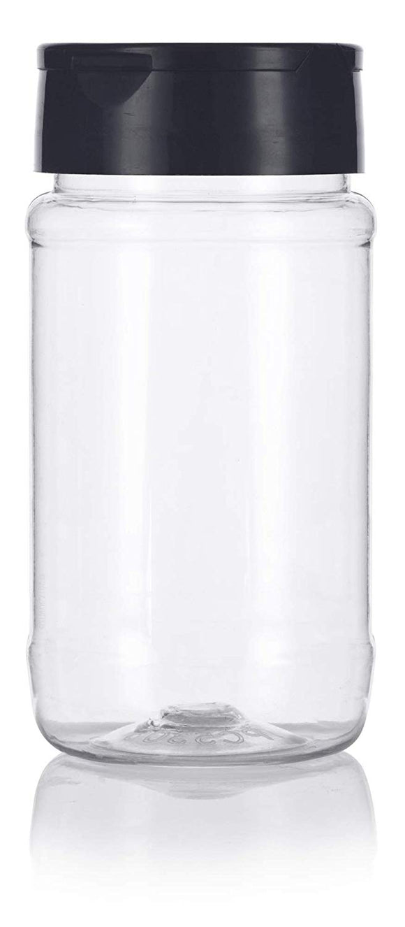 Clear Plastic Spice Bottle with Black Sifter - 8 oz / 240 ml