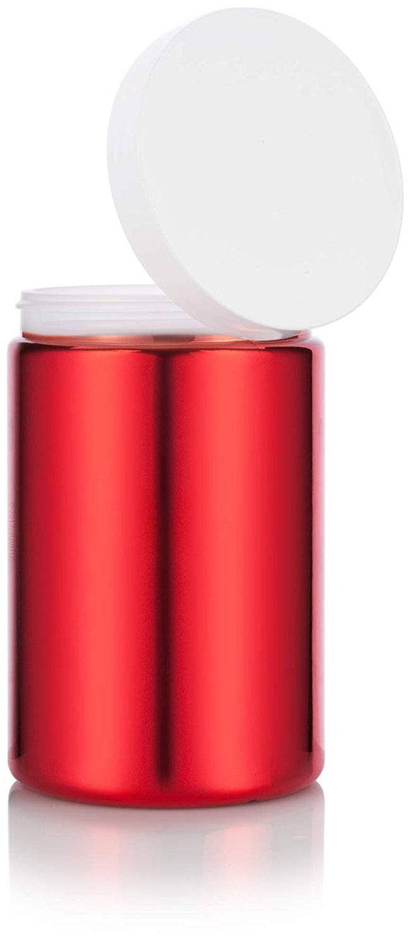 Plastic Jar in Red with White Foam Lined Lid - 25 oz / 740 ml
