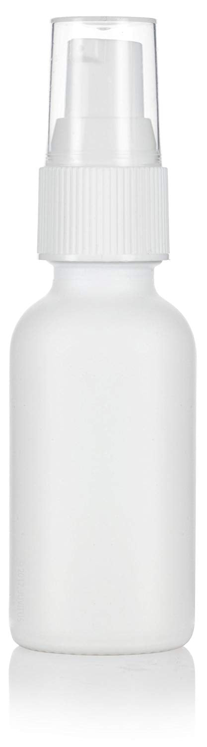 White Glass Boston Round Treatment Pump Bottle with White Top - 1 oz / 30 ml