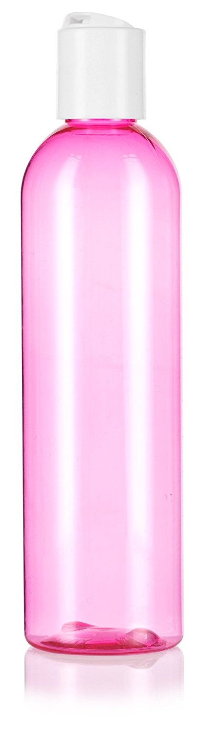 Pink Plastic Slim Cosmo Bottle with White Disc Cap - 8 oz / 250 ml