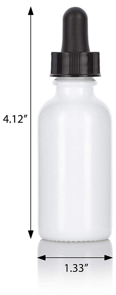 1 oz Opal White Glass Boston Round Dropper Bottle (4 pack) + Funnel and Labels for essential oils, aromatherapy, e-liquid, food grade, bpa free