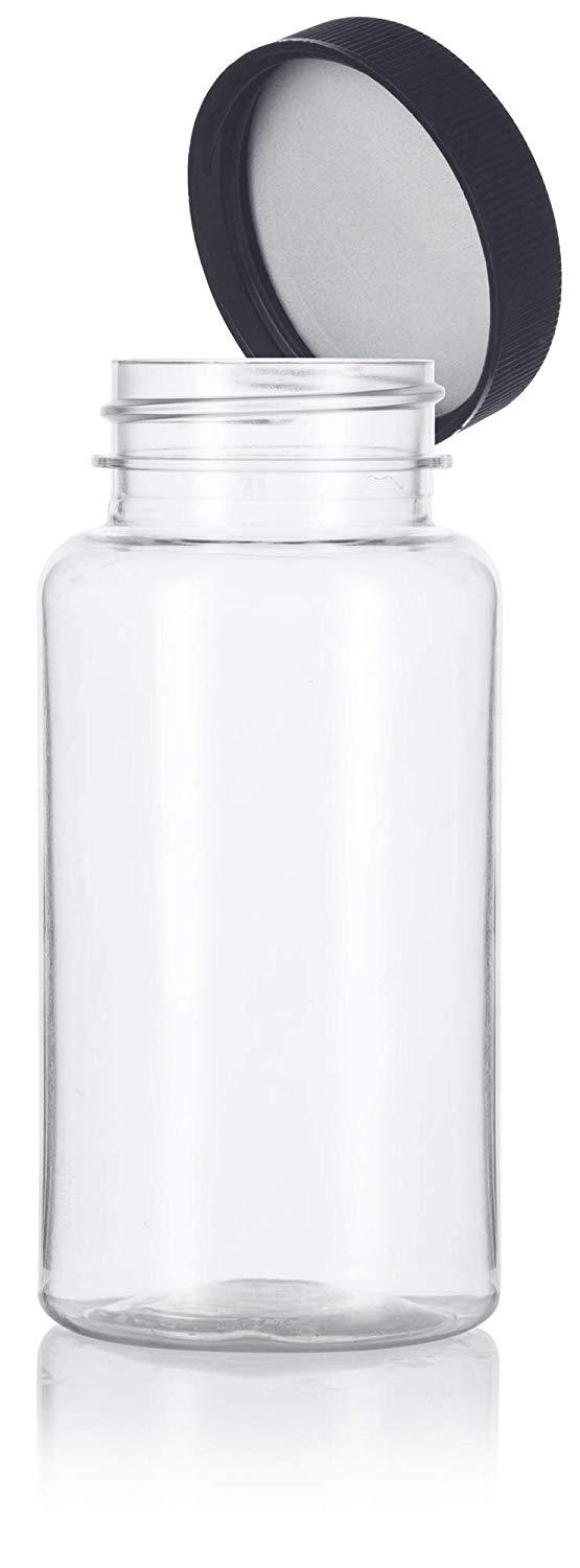 Plastic Wide Mouth Packer Bottle in Clear with Black Ribbed Lid - 5 oz / 150 ml