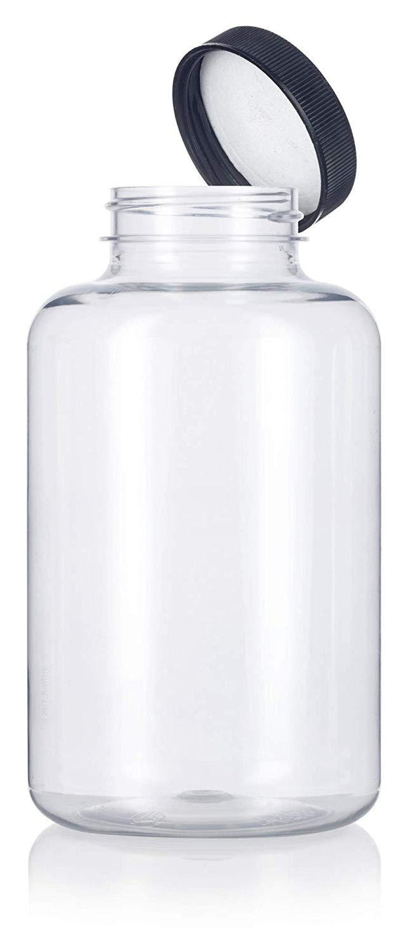 Clear Plastic Wide Mouth Packer Bottle with Black Ribbed Lid - 17 oz / 500 ml