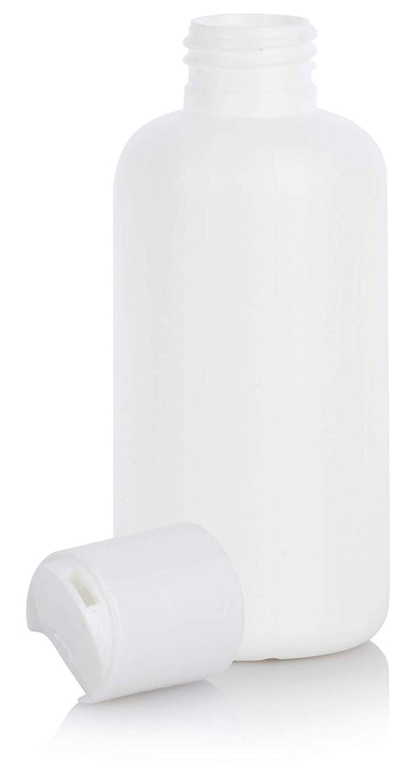 White HDPE Plastic Boston Round Bottle with White Disc Cap - 4 oz / 120 ml
