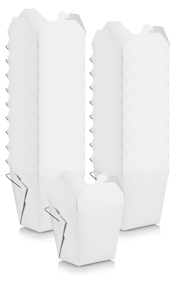 Medium and Large Mixed Size Set of White Asian Chinese Food Paper Take-Out Containers with Wire Handle (20 pack - 10 of each size, 16 oz and 32 oz sizes) + Labels