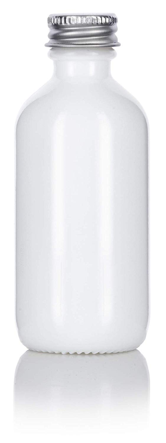 Opal White Glass Boston Round Screw Bottle with Silver Metal Cap - 2 oz / 60 ml