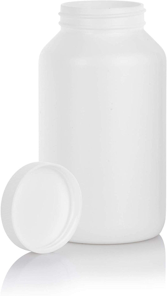 White HDPE Plastic Packer Bottle with White Ribbed Lid - 17 oz / 500 ml