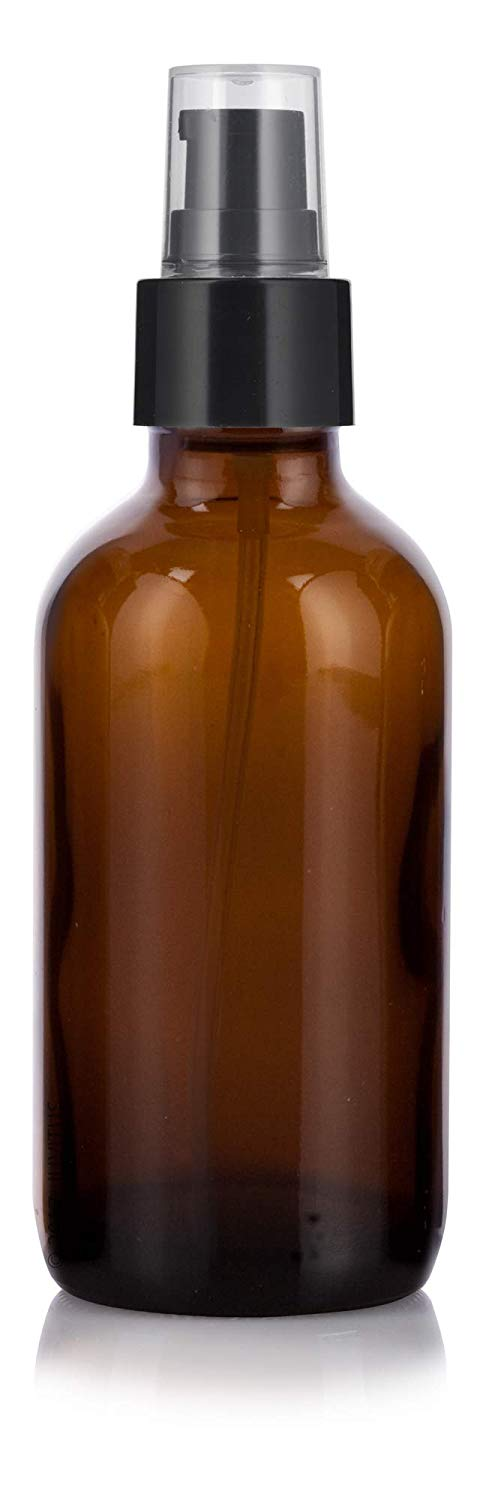 Glass Boston Round Bottle in Amber with Black Treatment Pump - 4 oz / 120 ml