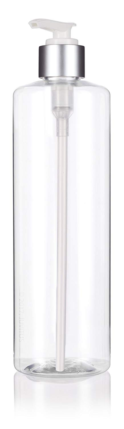 Clear Plastic Professional Cylinder Bottle with Silver Lotion Pump - 16 oz / 500 ml