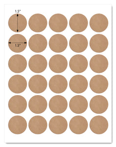 Textured Brown Kraft 1.5 Inch Diameter Circle Labels with Template and Printing Instructions, 5 Sheets, 150 Labels (RB15)