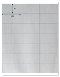 "Premium Weatherproof Silver 2.83"" x 1.5"" Rectangle Labels for Laser Printers with Downloadable Template and Printing Instructions, 5 Sheets, 105 Labels (SQ28)"