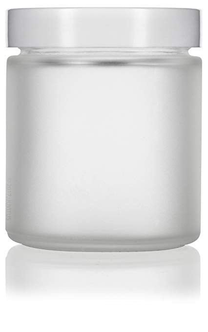 Glass Jar in Frosted Clear with White Foam Lined Lid - 4 oz / 120 ml
