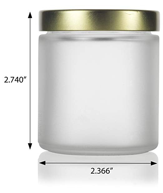8f316f879711 Frosted Clear Glass Straight Sided Jar with Gold Metal Airtight Lid - 4 oz  / 120 ml + Spatulas and Labels