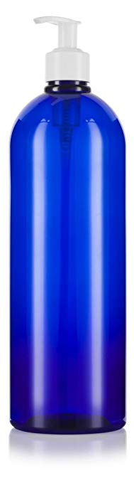 Plastic Boston Round Bottle in Cobalt Blue with White Lotion Pump - 32 oz / 950 ml