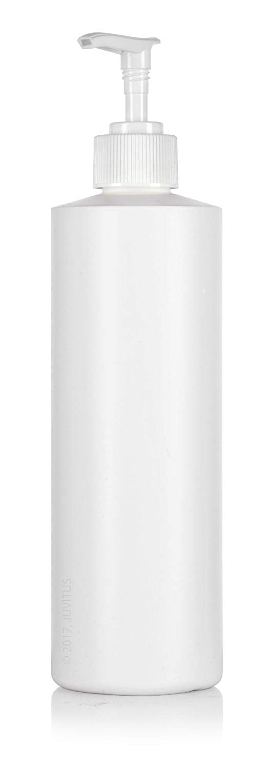 White Plastic Professional Cylinder Bottle with White Lotion Pump - 16 oz / 500 ml