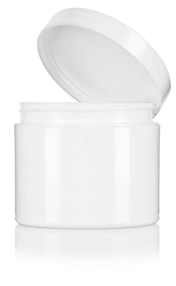 Plastic Double Wall Jar in White with White Foam Lined Lid - 4 oz / 120 ml