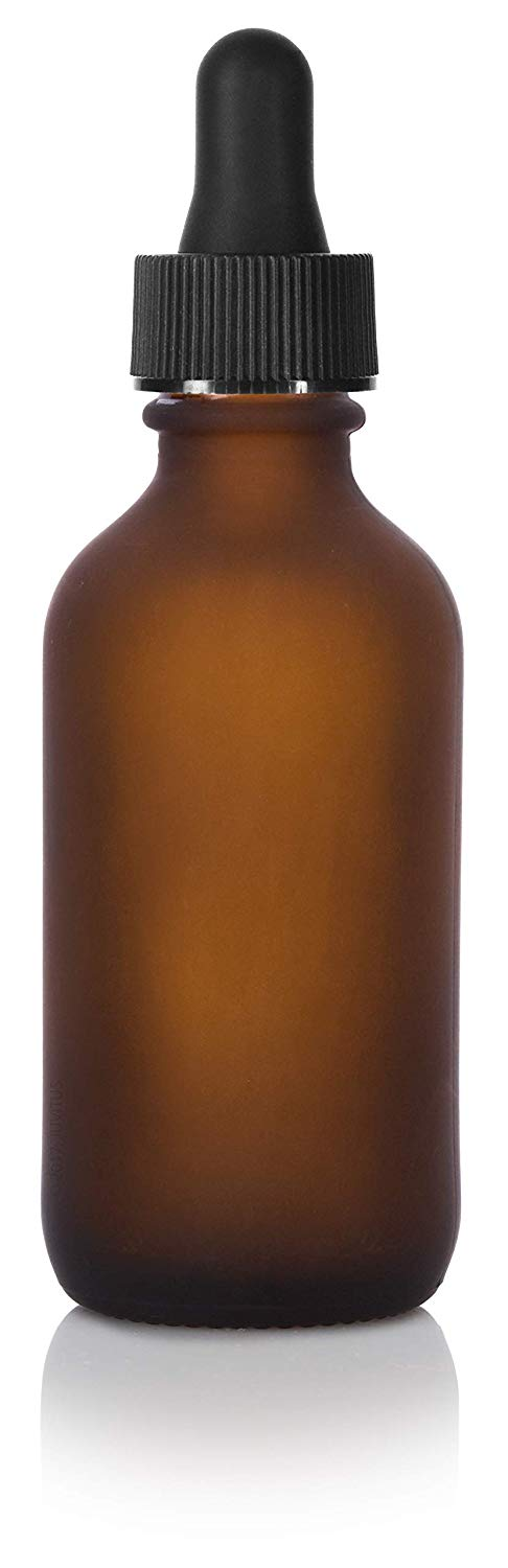 Frosted Amber Glass Boston Round Dropper Bottle with Graduated Measurement Glass Black Top - 2 oz / 60 ml