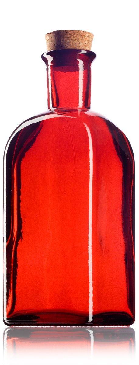 Glass Spanish Bottle in Red with Natural Cork Top - 8 oz / 250 ml