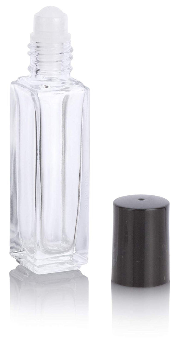 Clear Glass Square Roll On Bottle with Roll On Applicator - .20 oz / 6 ml