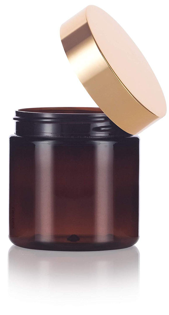 Plastic Jar in Amber with Gold Metal Overshell Lid - 4 oz / 120 ml
