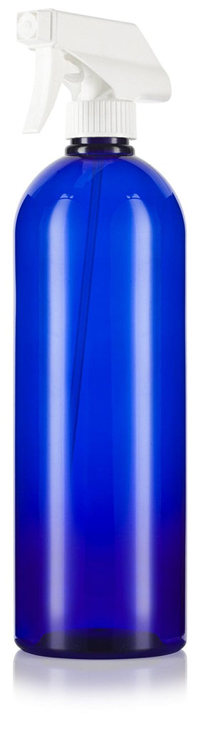 Cobalt Blue 32 oz Large Boston Round PET Bottles (BPA Free) with White Heavy Duty Industrial Trigger Sprayer + Labels