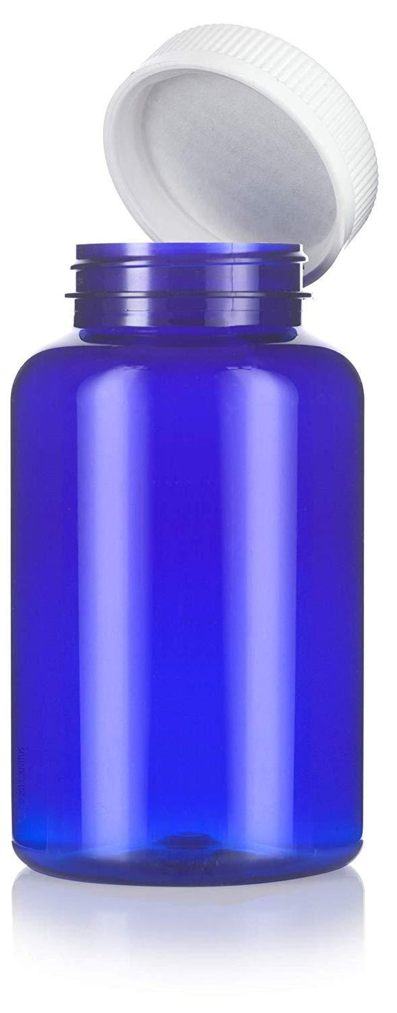 Cobalt Blue Plastic Wide Mouth Packer Bottle with Child Resistant White Push and Turn Lid - 17 oz / 500 ml