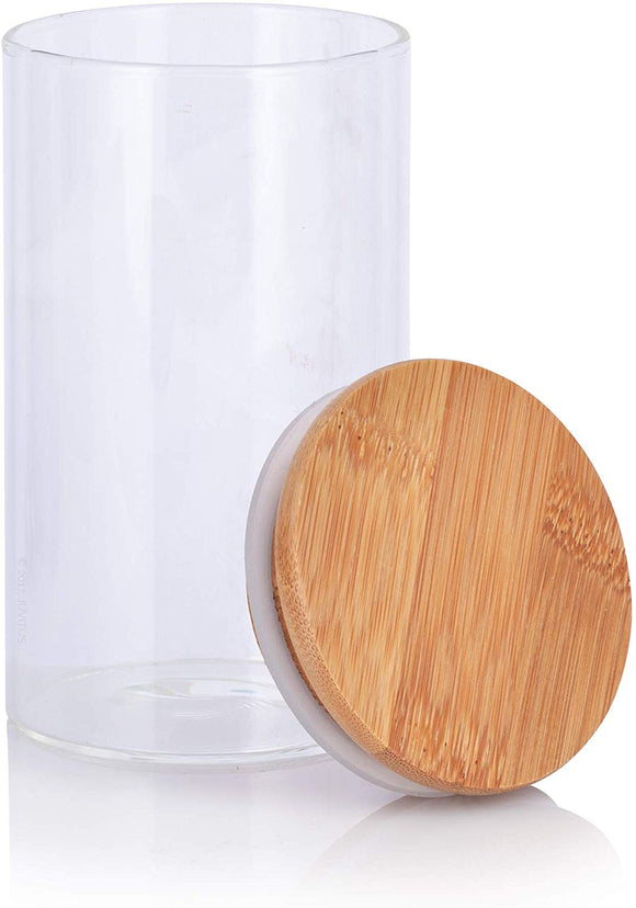Clear Glass Borosilicate Jar with Bamboo Lid - Tall 10 oz / 300 ml