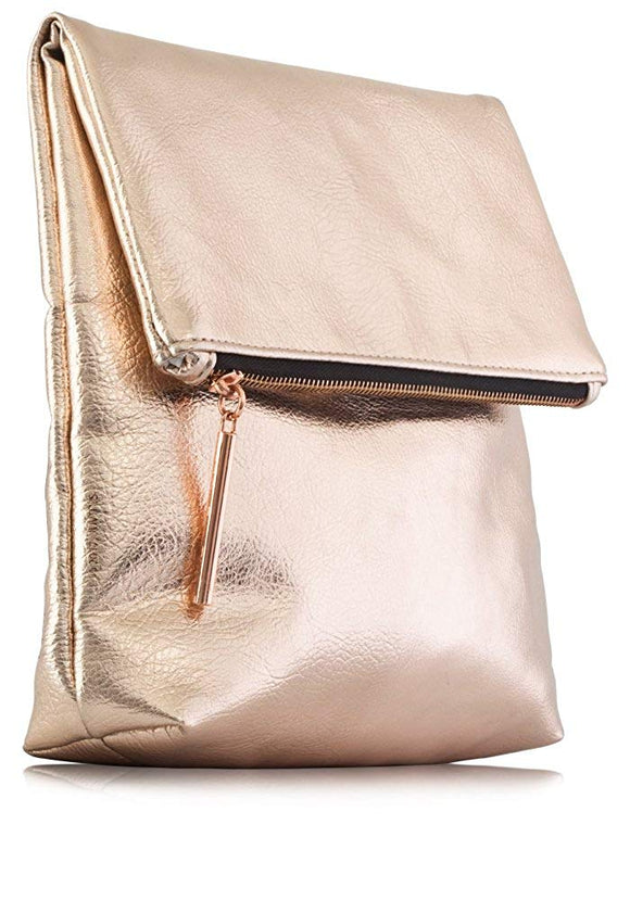 Rose Gold Metallic Premium PU Vegan Leather Fold Over Clutch Bag, Fully Lined with Rose Gold Zipper