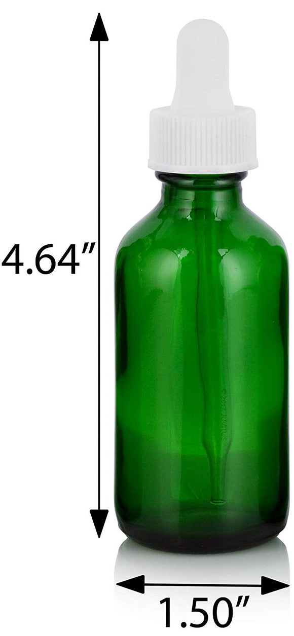 Green Glass Boston Round Dropper Bottle with White Top - 2 oz / 60 ml